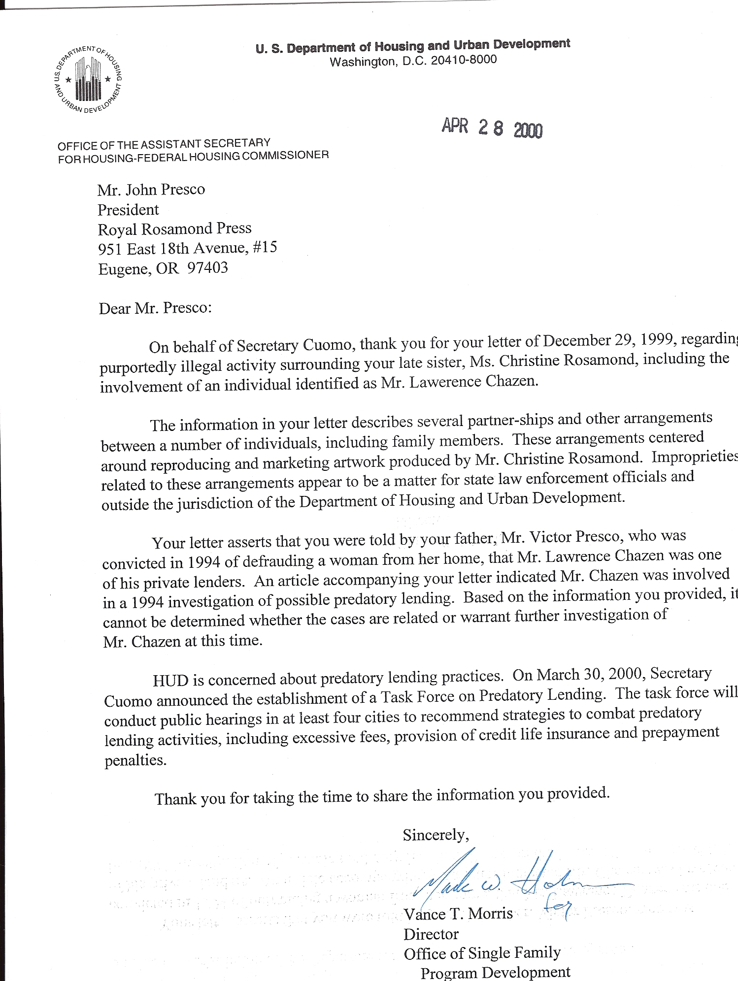mortgage default letter template - my letter to andrew cuomo rosamond press