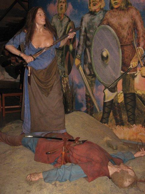 Freydís Eiríksdóttir in het saga museum