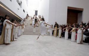 Children perform during the ceremonial reopening of the Bardo museum in Tunis
