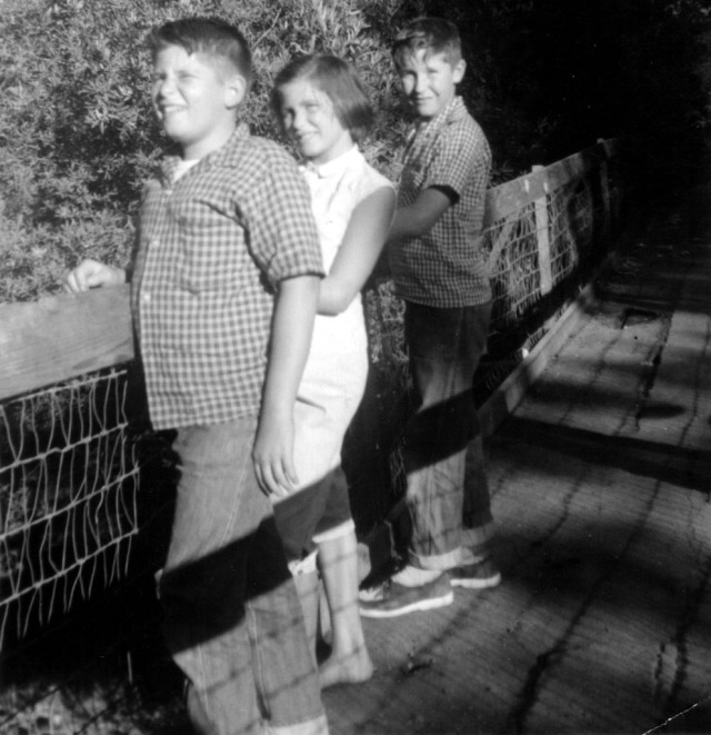 Prescos 1958 Mark, Christine & Greg on Roseville bridge