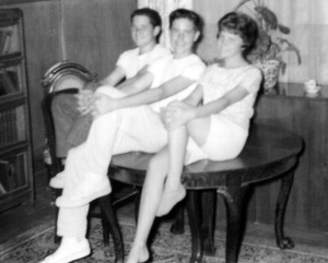Prescos 1961 Mark, Greg & Christine on table