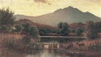 hiram-reynolds-bloomer-deer-watering-in-a-mountainous-landscape