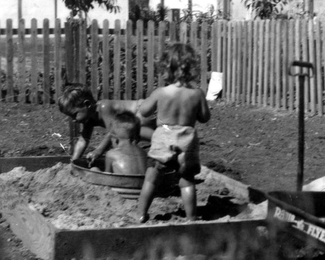Prescos 1949 Greg, Mark & Christine in Sandbox 2