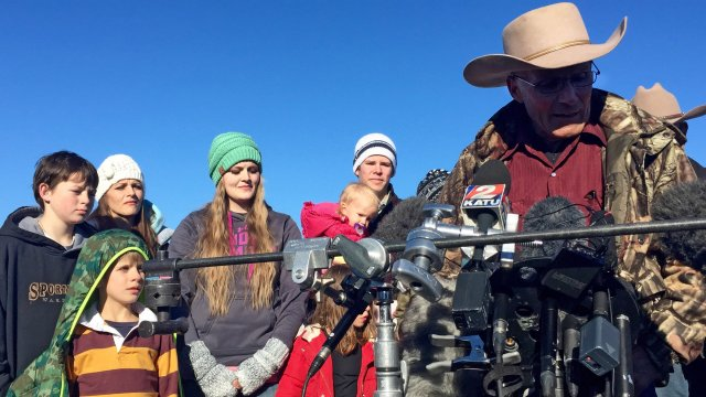 "LaVoy Finicum told reporters that ""this is intended to be a peaceful occupation."" (Caitlin Dickson/Yahoo News)"